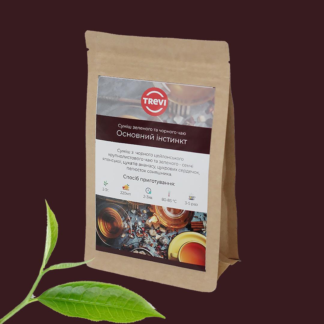 Чай зеленый с черным рассыпной Trevi Основной инстинкт 100 г