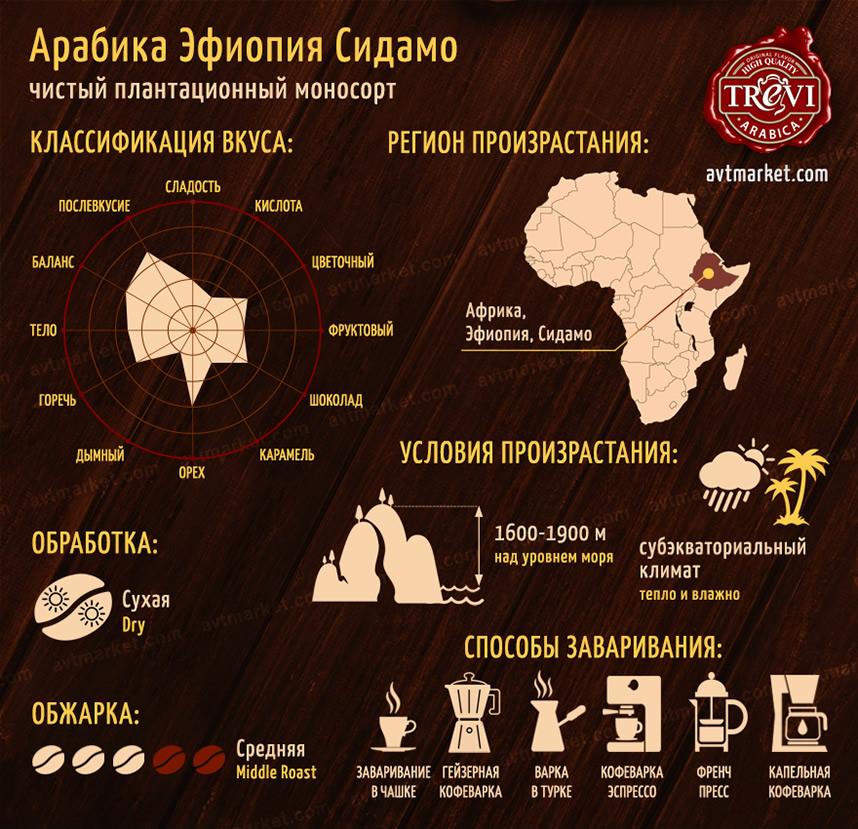 Кофе в зёрнах Арабика Эфиопия Сидамо 500 г