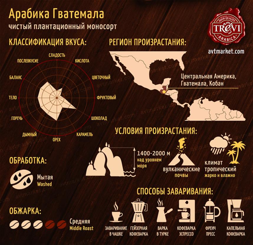 Кофе в зёрнах Арабика Гватемала 500 г