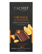 Шоколад черный Cachet 57% какао с апельсином и миндалем 100 г