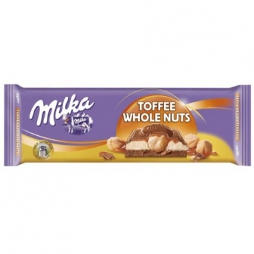 Шоколад Milka Toffee Wholenut 300 г