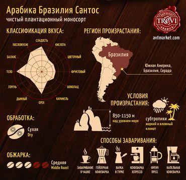 Стоимость Кофе в зёрнах Trevi Арабика Бразилия Сантос 500 г