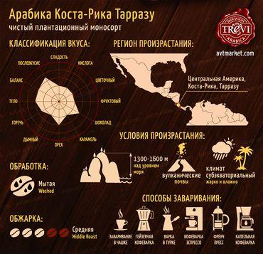 Цена Кофе в зёрнах Trevi Арабика Коста Рика Тарразу 1 кг