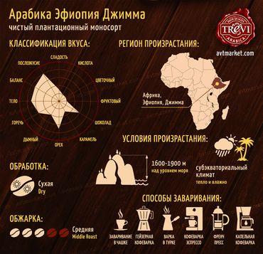 Стоимость Кофе в зёрнах Trevi Арабика Эфиопия Джимма 500 г