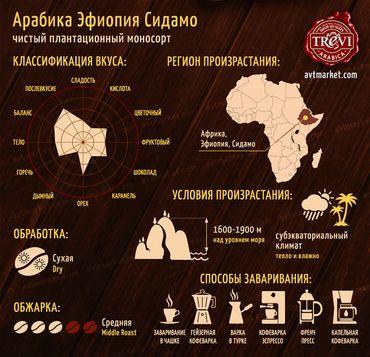 Стоимость Кофе в зёрнах Trevi Арабика Эфиопия Сидамо 500 г