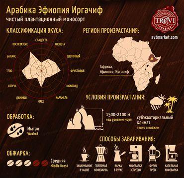 Стоимость Кофе в зёрнах Trevi Арабика Эфиопия Иргачиф 500 г
