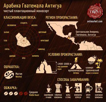 Стоимость Кофе в зёрнах Trevi Арабика Гватемала Антигуа 500 г