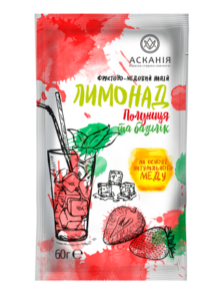 "Напиток-сашета Аскания ""Лимонад клубника и базилик"" 60 г"